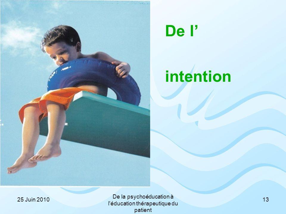 De l' intention 1325 Juin 2010 De la psychoéducation à l'éducation thérapeutique du patient