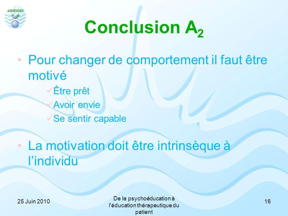 Conclusion A 2 Pour changer de comportement il faut être motivé Être prêt Avoir envie Se sentir capable La motivation doit être intrinsèque à l'indivi