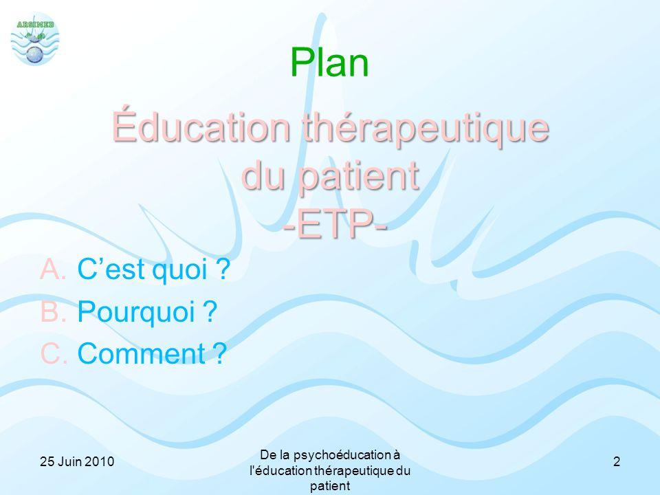 Plan A.C'est quoi ? B.Pourquoi ? C.Comment ? Éducation thérapeutique du patient -ETP- 225 Juin 2010 De la psychoéducation à l'éducation thérapeutique