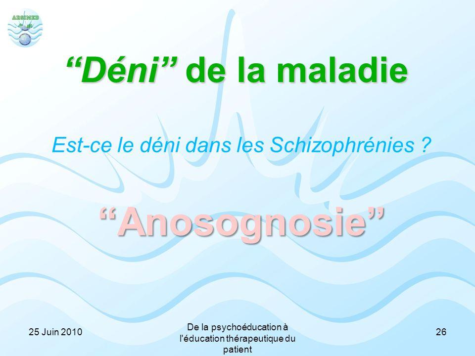 """""""Déni"""" de la maladie Est-ce le déni dans les Schizophrénies ?""""Anosognosie"""" 2625 Juin 2010 De la psychoéducation à l'éducation thérapeutique du patient"""