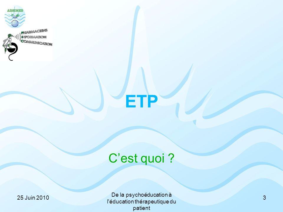 ETP C'est quoi ? 325 Juin 2010 De la psychoéducation à l'éducation thérapeutique du patient