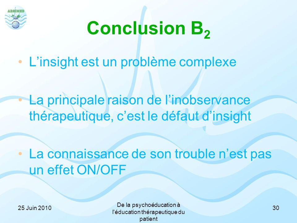Conclusion B 2 L'insight est un problème complexe La principale raison de l'inobservance thérapeutique, c'est le défaut d'insight La connaissance de s