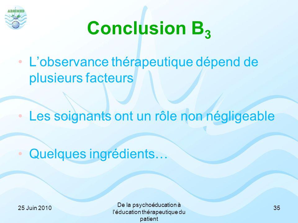 Conclusion B 3 L'observance thérapeutique dépend de plusieurs facteurs Les soignants ont un rôle non négligeable Quelques ingrédients… 3525 Juin 2010