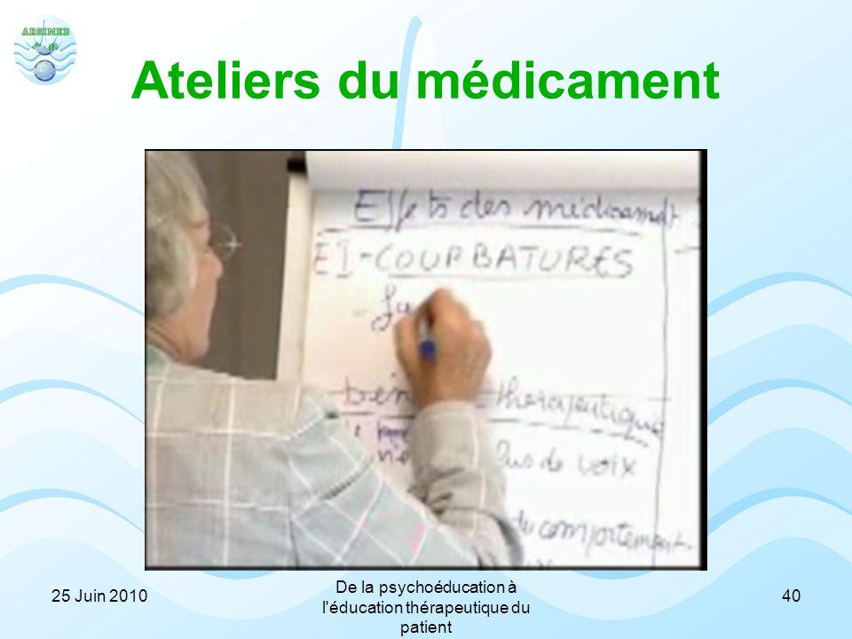 Ateliers du médicament 4025 Juin 2010 De la psychoéducation à l'éducation thérapeutique du patient