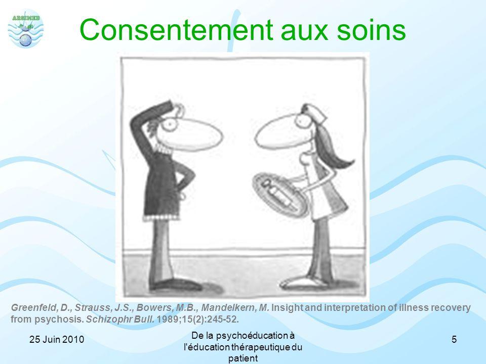 Consentement aux soins 25 Juin 2010 De la psychoéducation à l'éducation thérapeutique du patient 5 Greenfeld, D., Strauss, J.S., Bowers, M.B., Mandelk