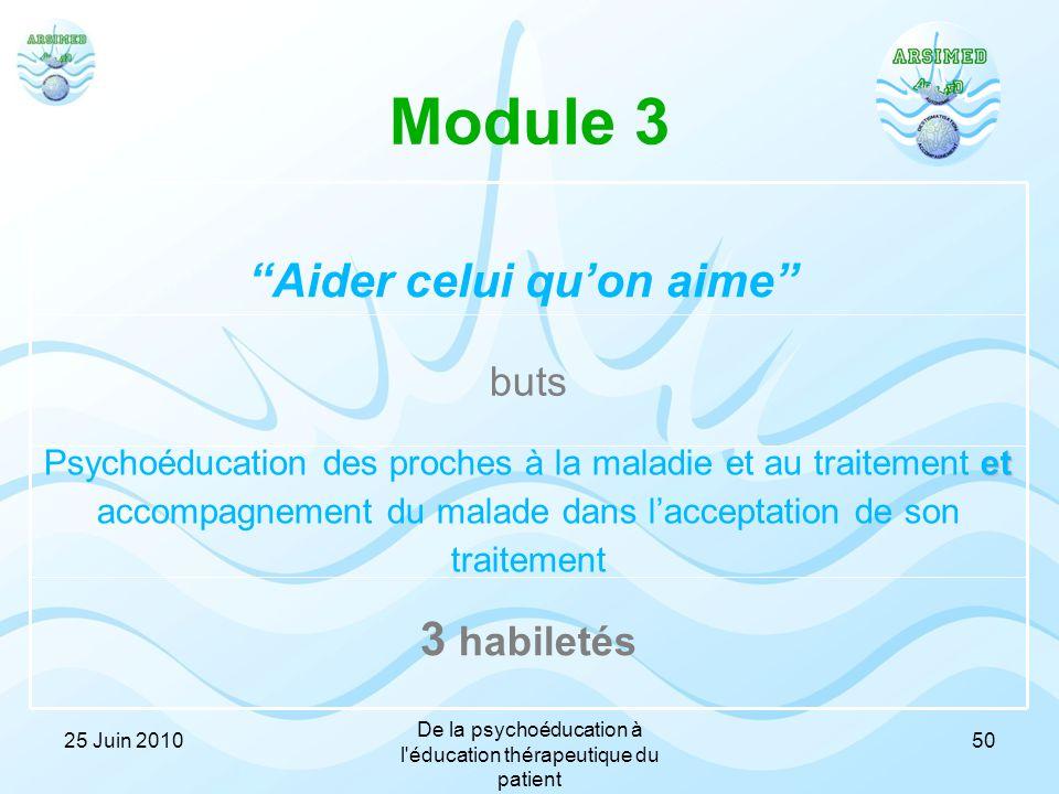 Module 3 3 habiletés et Psychoéducation des proches à la maladie et au traitement et accompagnement du malade dans l'acceptation de son traitement but