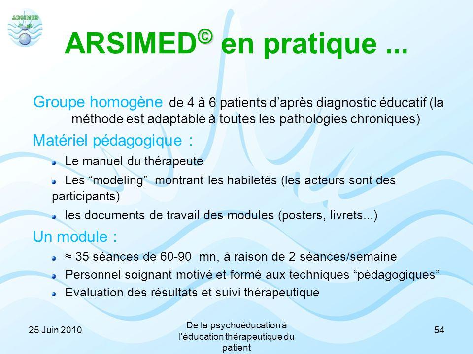 © ARSIMED © en pratique... Groupe homogène de 4 à 6 patients d'après diagnostic éducatif (la méthode est adaptable à toutes les pathologies chroniques