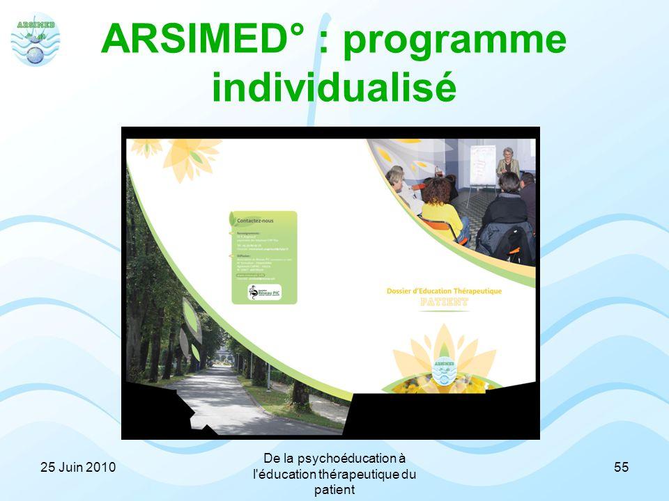 ARSIMED° : programme individualisé 25 Juin 2010 De la psychoéducation à l'éducation thérapeutique du patient 55