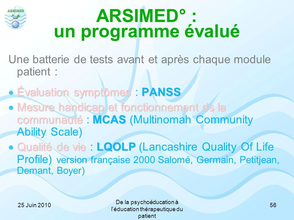 ARSIMED° : un programme évalué Une batterie de tests avant et après chaque module patient :  Évaluation symptômes PANSS  Évaluation symptômes : PANS