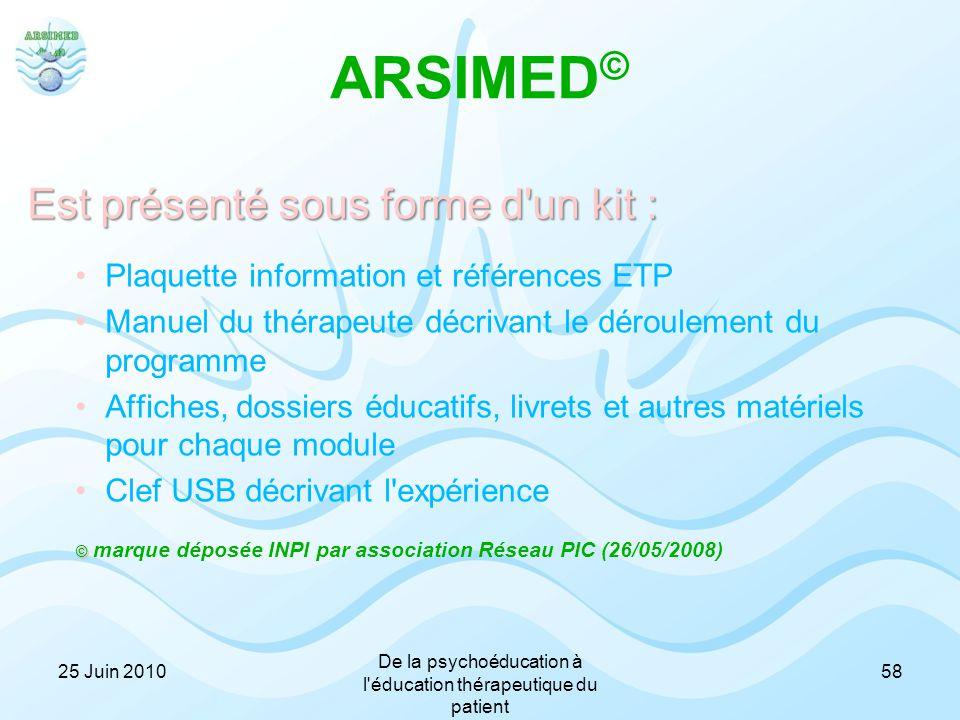 ARSIMED © Est présenté sous forme d'un kit : Plaquette information et références ETP Manuel du thérapeute décrivant le déroulement du programme Affich