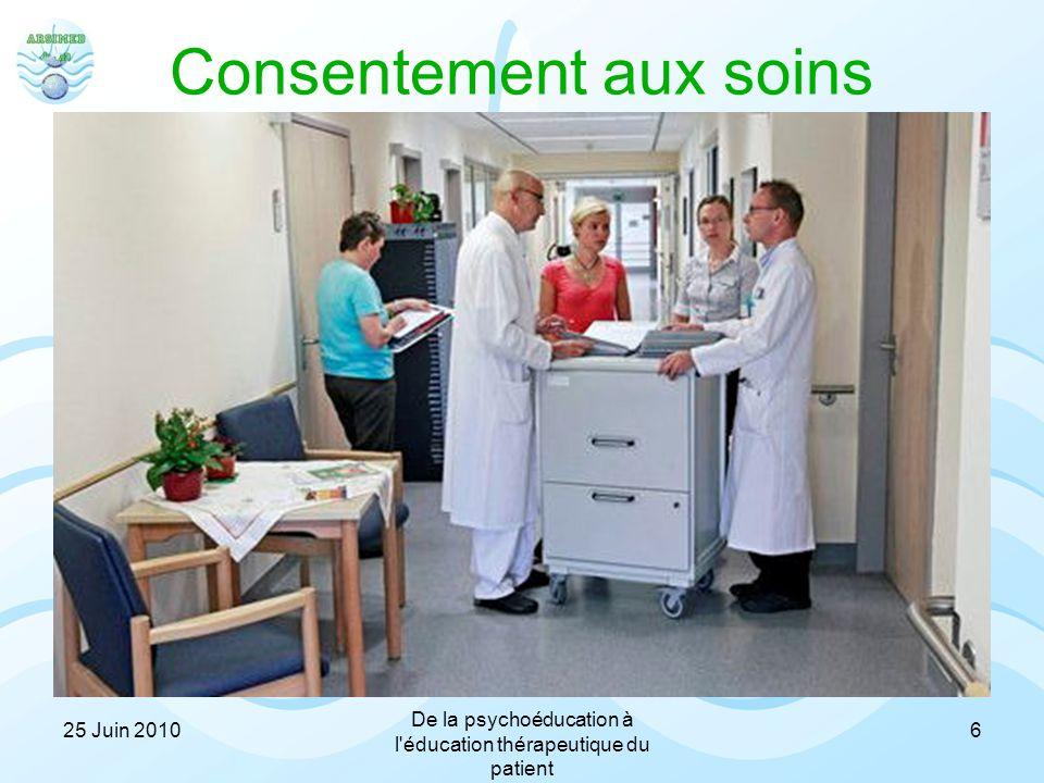 Consentement aux soins Compliance = Observance –Le patient joue un rôle passif –Il se sent contrôlé Adhérence –Le patient joue un rôle actif –Il accep