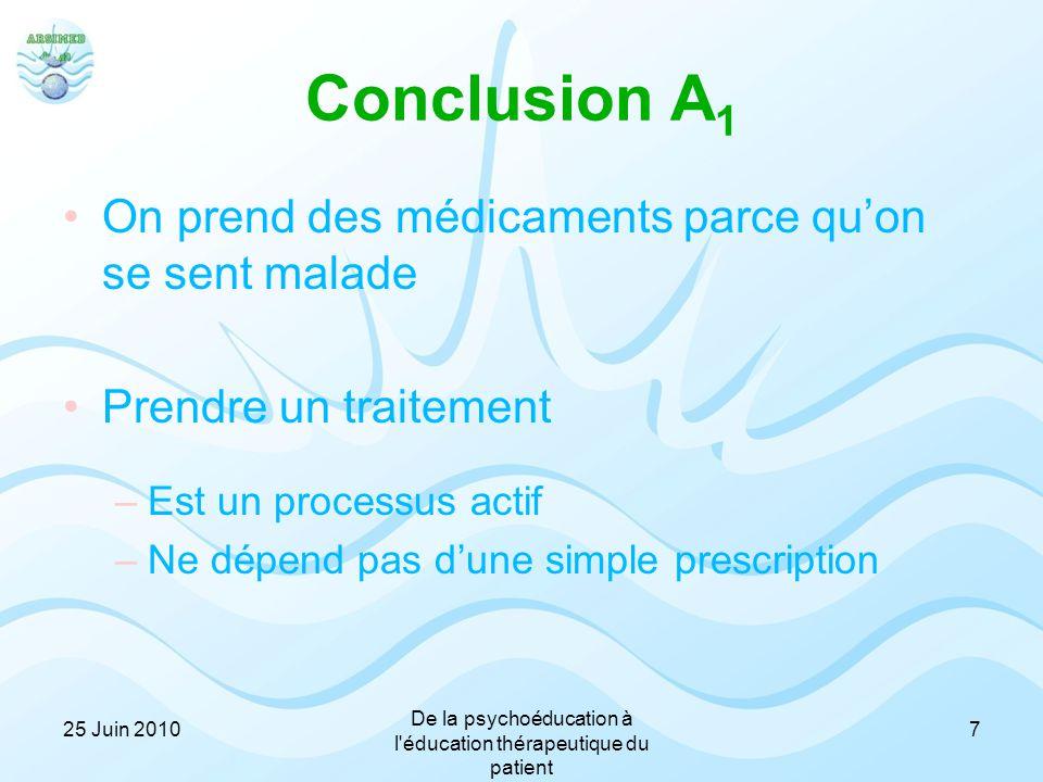 Conclusion A 1 On prend des médicaments parce qu'on se sent malade Prendre un traitement –Est un processus actif –Ne dépend pas d'une simple prescript