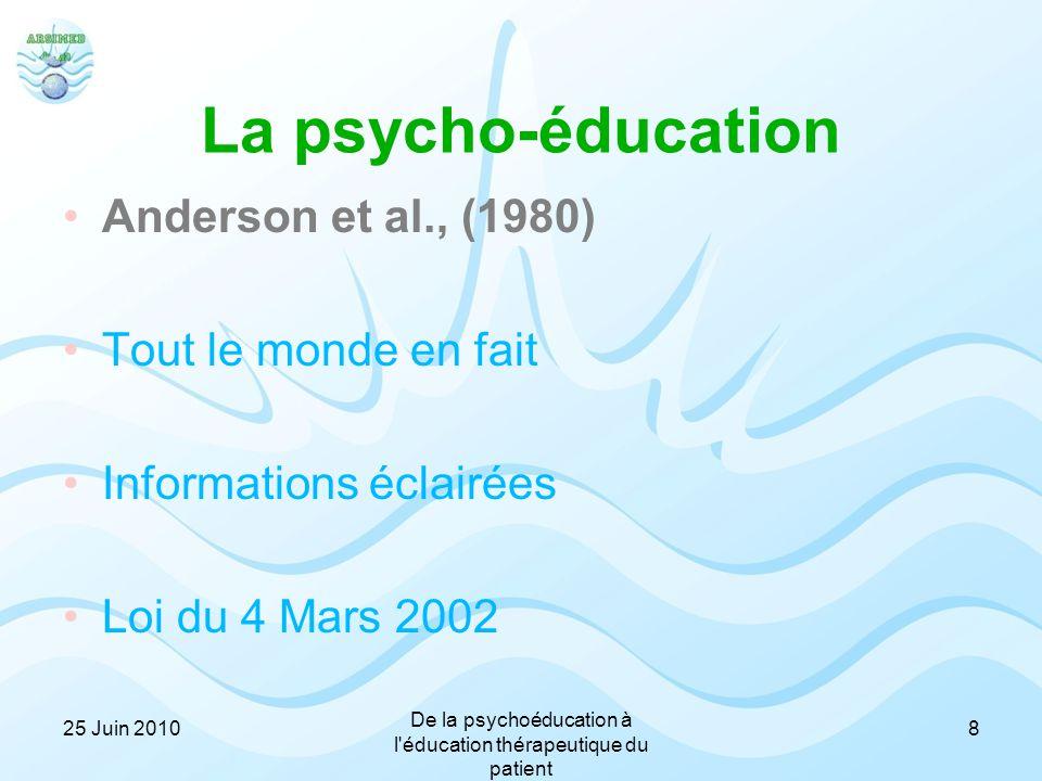 La psycho-éducation Anderson et al., (1980) Tout le monde en fait Informations éclairées Loi du 4 Mars 2002 25 Juin 2010 De la psychoéducation à l'édu