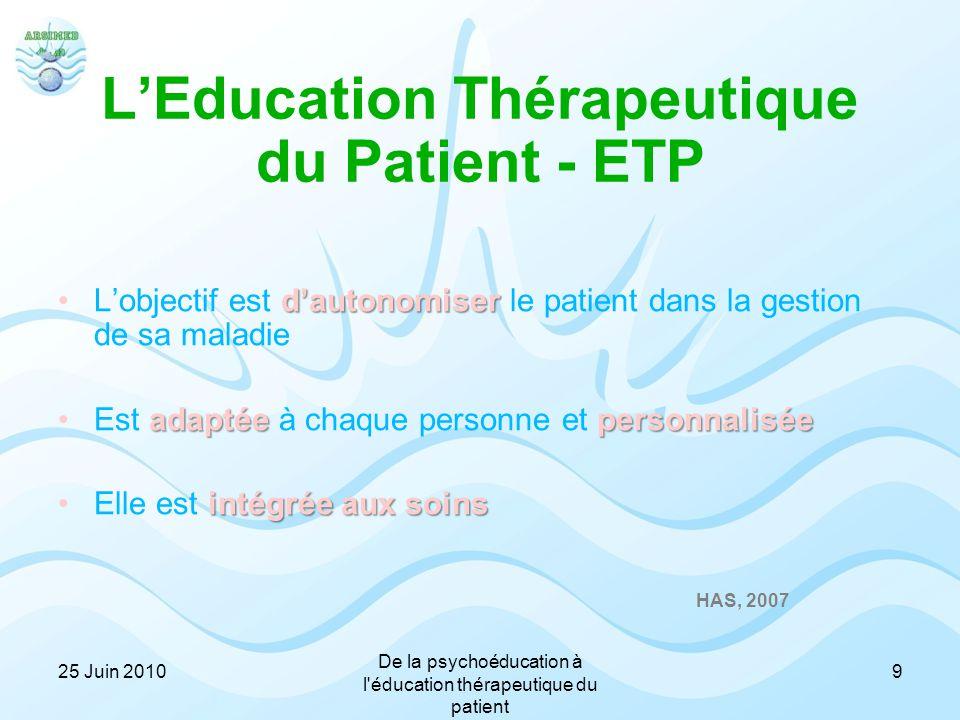 L'Education Thérapeutique du Patient - ETP d'autonomiserL'objectif est d'autonomiser le patient dans la gestion de sa maladie adaptéepersonnaliséeEst