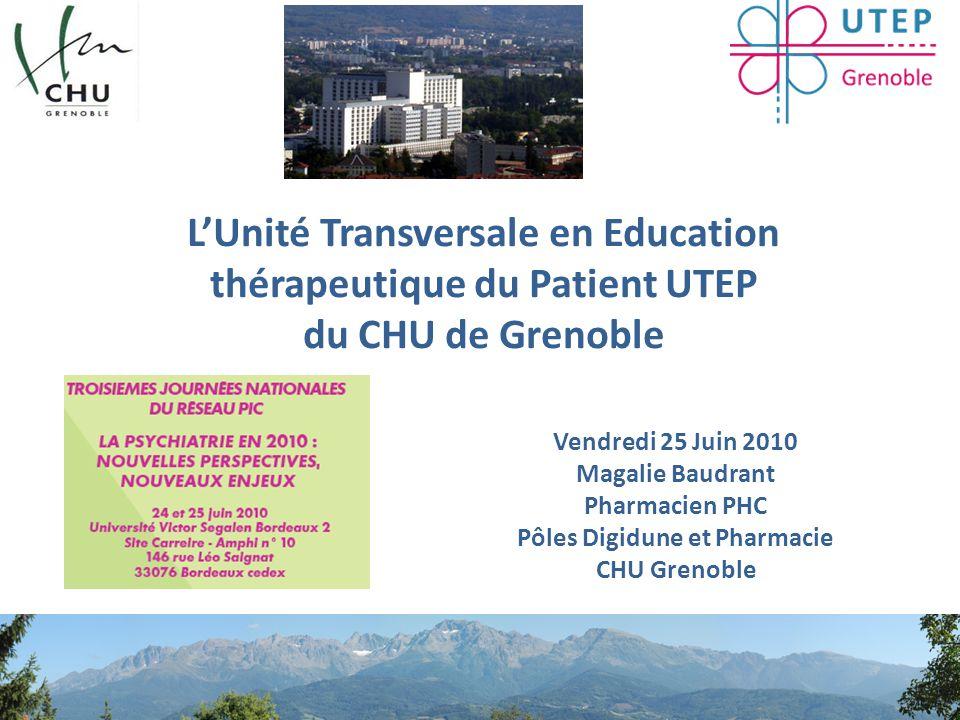 Unité Transversale en Education Thérapeutique du Patient Retour sur l'historique du projet Une UTEP pour quoi faire .
