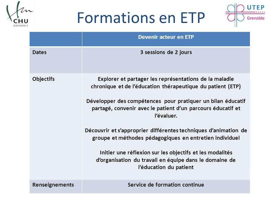 Formations en ETP Devenir acteur en ETP Dates3 sessions de 2 jours ObjectifsExplorer et partager les représentations de la maladie chronique et de l'é