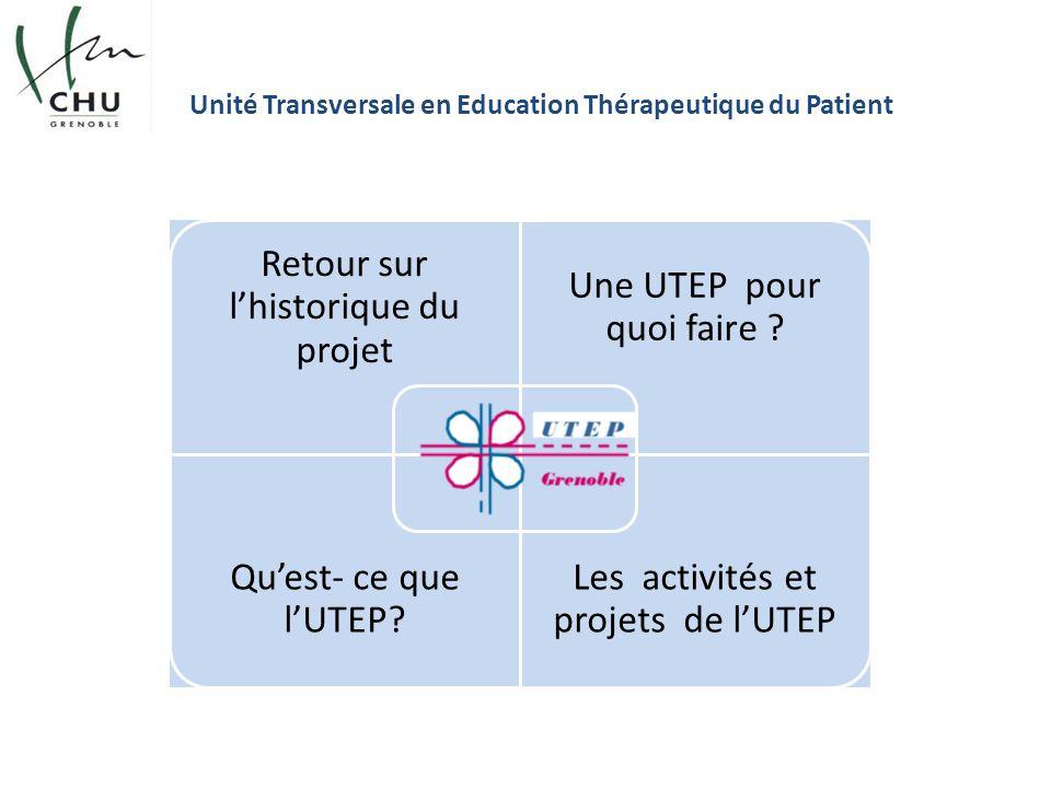 Unité Transversale en Education Thérapeutique du Patient Retour sur l'historique du projet Une UTEP pour quoi faire ? Qu'est- ce que l'UTEP? Les activ