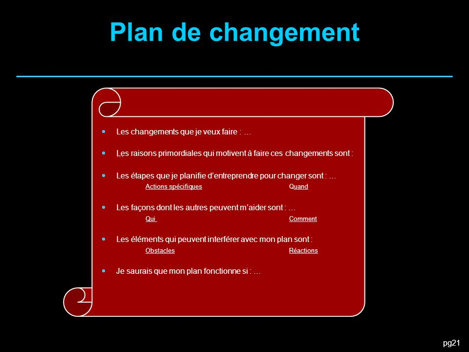 pg21 Plan de changement  Les changements que je veux faire : …  Les raisons primordiales qui motivent à faire ces changements sont : …  Les étapes