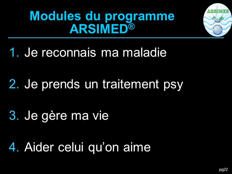 pg22 Modules du programme ARSIMED ® 1.Je reconnais ma maladie 2.Je prends un traitement psy 3.Je gère ma vie 4.Aider celui qu'on aime
