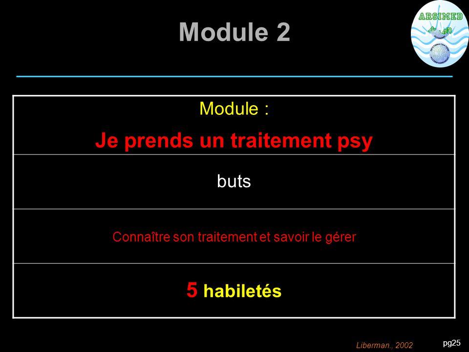 pg25 Module 2 Module : Je prends un traitement psy buts Connaître son traitement et savoir le gérer 5 habiletés Liberman., 2002