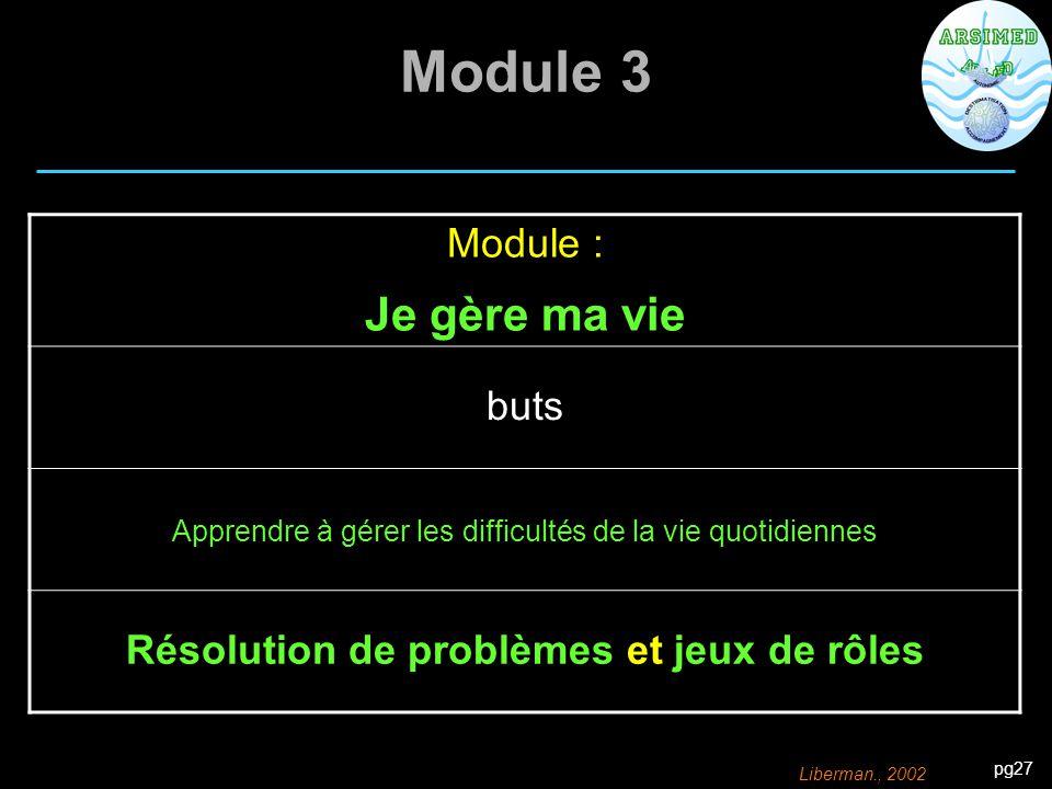 pg27 Module 3 Module : Je gère ma vie buts Apprendre à gérer les difficultés de la vie quotidiennes Résolution de problèmes et jeux de rôles Liberman.