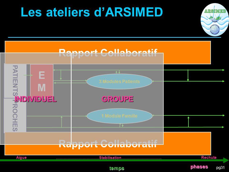 pg31 PROCHES PATIENTS EMEM 3 Modules Patients 1 Module Famille temps Les ateliers d'ARSIMED Rapport Collaboratif Aigue …………………………….Stabilisation………………