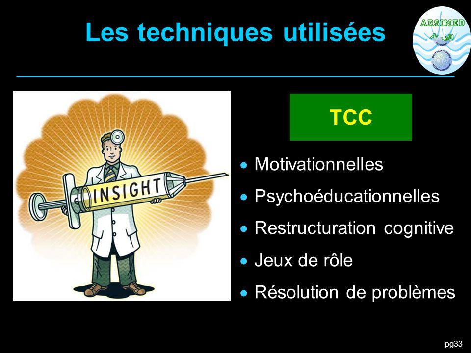 pg33 Les techniques utilisées  Motivationnelles  Psychoéducationnelles  Restructuration cognitive  Jeux de rôle  Résolution de problèmes TCC