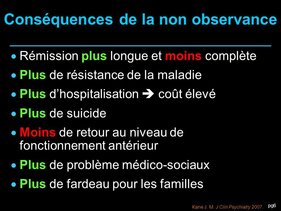 pg6 Conséquences de la non observance  Rémission plus longue et moins complète  Plus de résistance de la maladie  Plus d'hospitalisation  coût éle