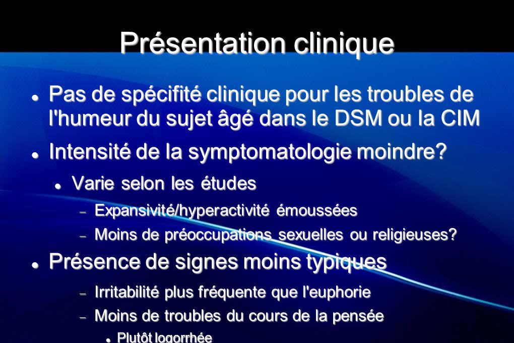 Présentation clinique Pas de spécifité clinique pour les troubles de l'humeur du sujet âgé dans le DSM ou la CIM Pas de spécifité clinique pour les tr