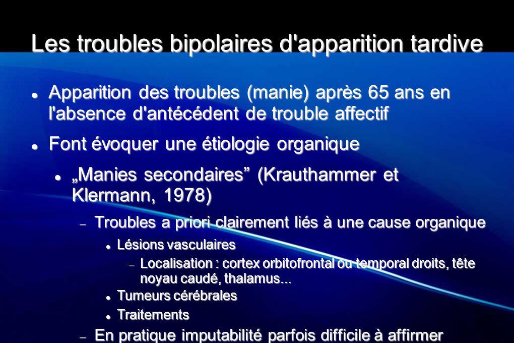 Les troubles bipolaires d'apparition tardive Apparition des troubles (manie) après 65 ans en l'absence d'antécédent de trouble affectif Apparition des