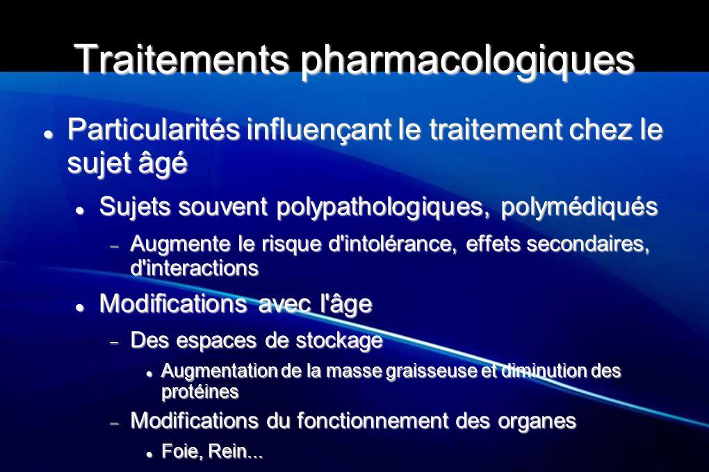 Traitements pharmacologiques Particularités influençant le traitement chez le sujet âgé Particularités influençant le traitement chez le sujet âgé Suj