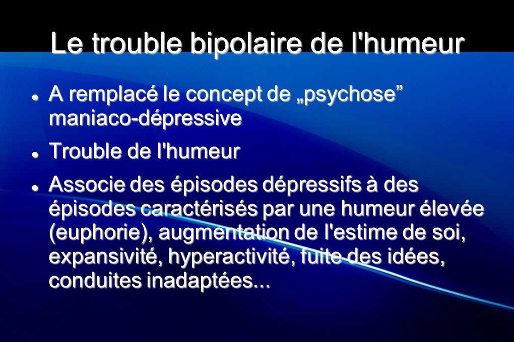 """Le trouble bipolaire de l humeur Divisés en plusieurs catégories Divisés en plusieurs catégories Troubles bipolaires de type 1 (TB 1) Troubles bipolaires de type 1 (TB 1) Troubles bipolaires de type 2 (TB 2) Troubles bipolaires de type 2 (TB 2) Age de début très variable, de la puberté à l âge avancé Age de début très variable, de la puberté à l âge avancé S oppose aux dépressions """"unipolaires S oppose aux dépressions """"unipolaires Diagnostic reposant sur l existence d un épisode maniaque, hypomaniaque ou mixte Diagnostic reposant sur l existence d un épisode maniaque, hypomaniaque ou mixte"""