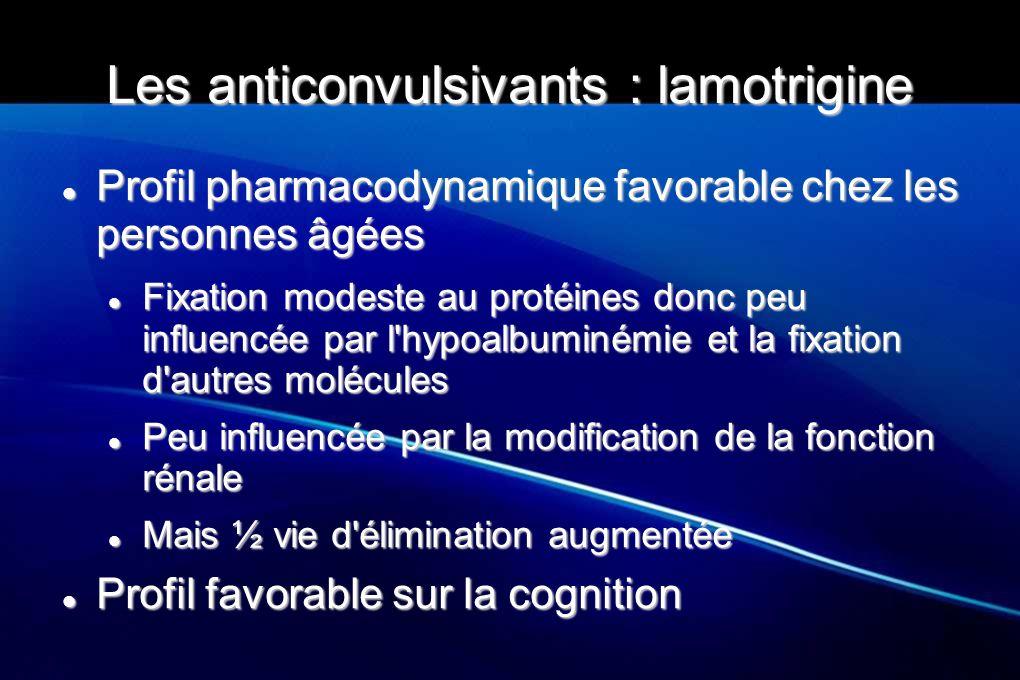 Les anticonvulsivants : lamotrigine Profil pharmacodynamique favorable chez les personnes âgées Profil pharmacodynamique favorable chez les personnes