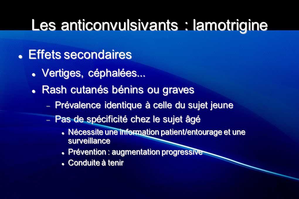 Les anticonvulsivants : lamotrigine Effets secondaires Effets secondaires Vertiges, céphalées... Vertiges, céphalées... Rash cutanés bénins ou graves