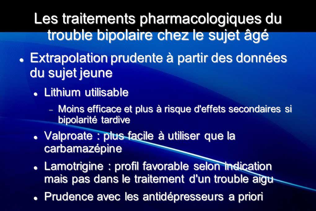 Les traitements pharmacologiques du trouble bipolaire chez le sujet âgé Extrapolation prudente à partir des données du sujet jeune Extrapolation prude
