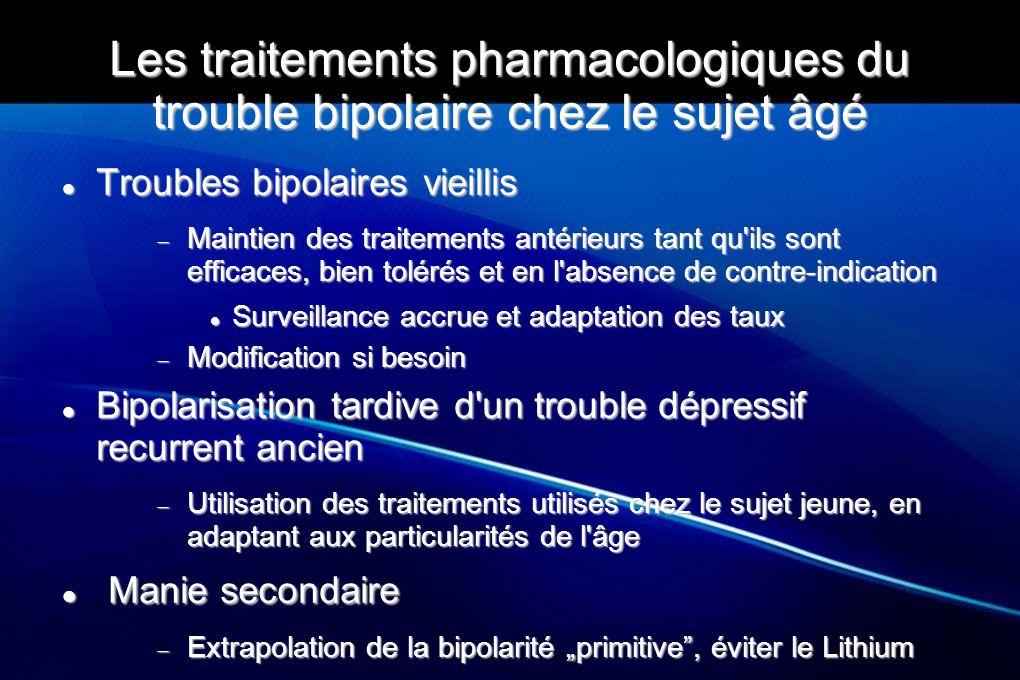 Les traitements pharmacologiques du trouble bipolaire chez le sujet âgé Troubles bipolaires vieillis Troubles bipolaires vieillis  Maintien des trait