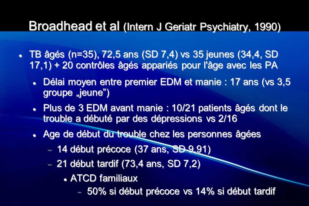 Broadhead et al (Intern J Geriatr Psychiatry, 1990) TB âgés (n=35), 72,5 ans (SD 7,4) vs 35 jeunes (34,4, SD 17,1) + 20 contrôles âgés appariés pour l