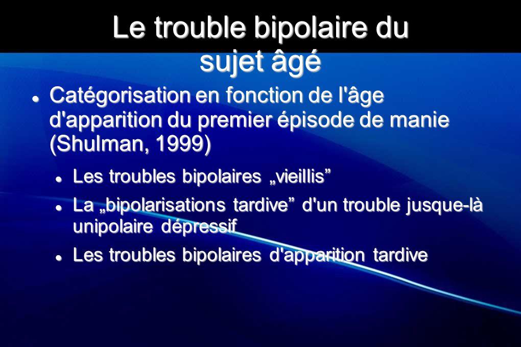 Le trouble bipolaire du sujet âgé Catégorisation en fonction de l'âge d'apparition du premier épisode de manie (Shulman, 1999) Catégorisation en fonct