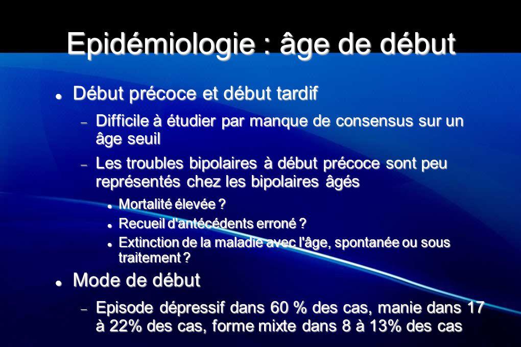 Epidémiologie Benedetti A et al (Clin Pract Epidemiol Ment Health 2008) Benedetti A et al (Clin Pract Epidemiol Ment Health 2008) Retrospectif, manie DSM IV chez les hospitalisés en gériatrie entre août 1998 et 2003 Retrospectif, manie DSM IV chez les hospitalisés en gériatrie entre août 1998 et 2003 11 femmes/9 hommes, âge moyen 74 ans +/-6,1 (65 à 88 ans) vs contrôles (TB, âge moyen 34, 6 +/- 11,7) 11 femmes/9 hommes, âge moyen 74 ans +/-6,1 (65 à 88 ans) vs contrôles (TB, âge moyen 34, 6 +/- 11,7) Age début 48,9 (SD 23,6), dont 7 (35%) après 64 ans (vs 25,6 ans, SD 12 chez les contrôles) Age début 48,9 (SD 23,6), dont 7 (35%) après 64 ans (vs 25,6 ans, SD 12 chez les contrôles)  Caractéristiques psychotiques : 75%  Début par EDM : 10 (50%), manie : 6 (33,3%), mixte : 4 (25%)  ATCD familiaux : 6 (33,3%) vs 12 (66,7%)