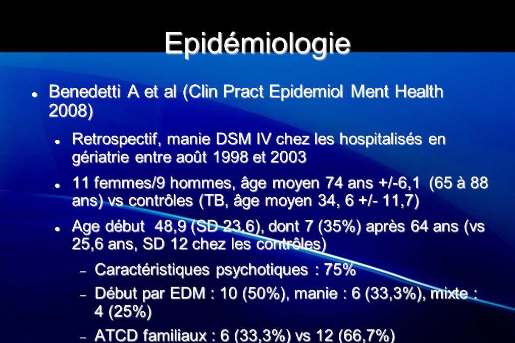 """Broadhead et al (Intern J Geriatr Psychiatry, 1990) TB âgés (n=35), 72,5 ans (SD 7,4) vs 35 jeunes (34,4, SD 17,1) + 20 contrôles âgés appariés pour l âge avec les PA TB âgés (n=35), 72,5 ans (SD 7,4) vs 35 jeunes (34,4, SD 17,1) + 20 contrôles âgés appariés pour l âge avec les PA Délai moyen entre premier EDM et manie : 17 ans (vs 3,5 groupe """"jeune ) Délai moyen entre premier EDM et manie : 17 ans (vs 3,5 groupe """"jeune ) Plus de 3 EDM avant manie : 10/21 patients âgés dont le trouble a débuté par des dépressions vs 2/16 Plus de 3 EDM avant manie : 10/21 patients âgés dont le trouble a débuté par des dépressions vs 2/16 Age de début du trouble chez les personnes âgées Age de début du trouble chez les personnes âgées  14 début précoce (37 ans, SD 9,91)  21 début tardif (73,4 ans, SD 7,2) ATCD familiaux ATCD familiaux  50% si début précoce vs 14% si début tardif"""
