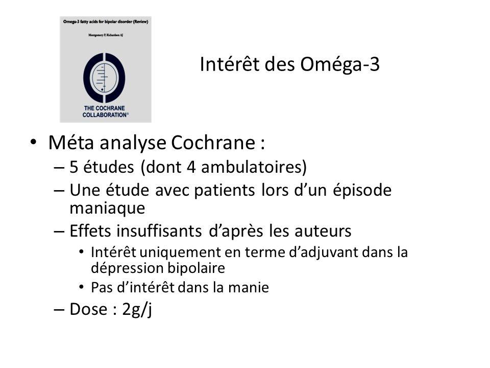 Méta analyse Cochrane : – 5 études (dont 4 ambulatoires) – Une étude avec patients lors d'un épisode maniaque – Effets insuffisants d'après les auteur