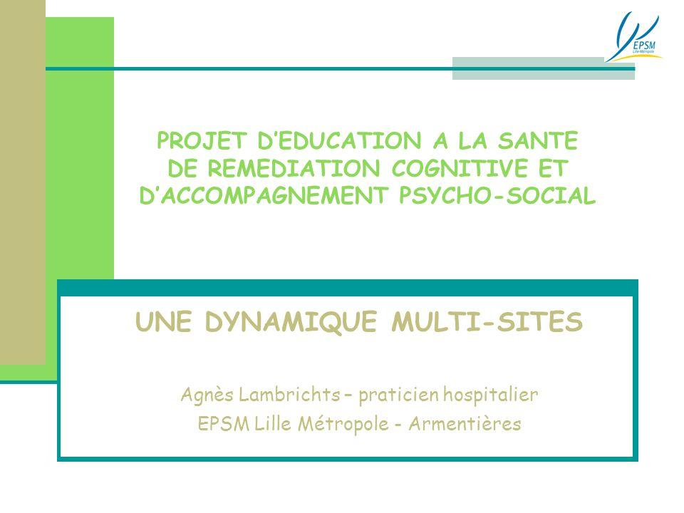 PROJET D'EDUCATION A LA SANTE DE REMEDIATION COGNITIVE ET D'ACCOMPAGNEMENT PSYCHO-SOCIAL UNE DYNAMIQUE MULTI-SITES Agnès Lambrichts – praticien hospit