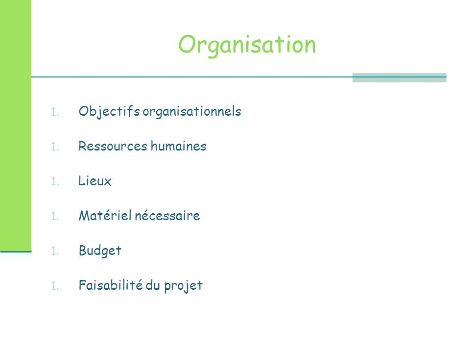 Organisation 1.Objectifs organisationnels 1. Ressources humaines 1.