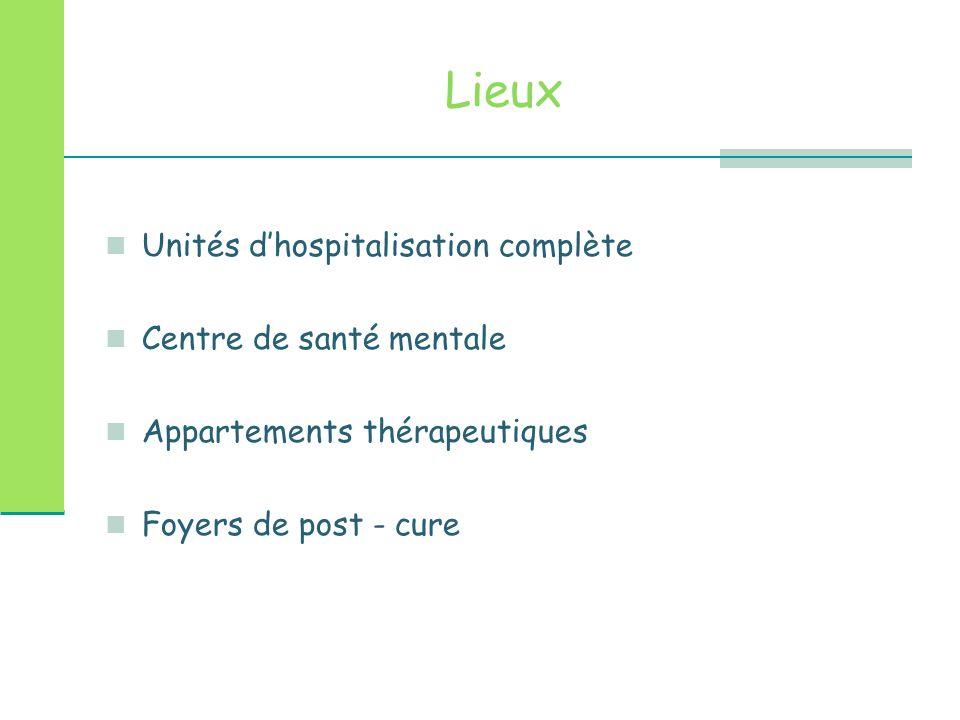 Lieux Unités d'hospitalisation complète Centre de santé mentale Appartements thérapeutiques Foyers de post - cure