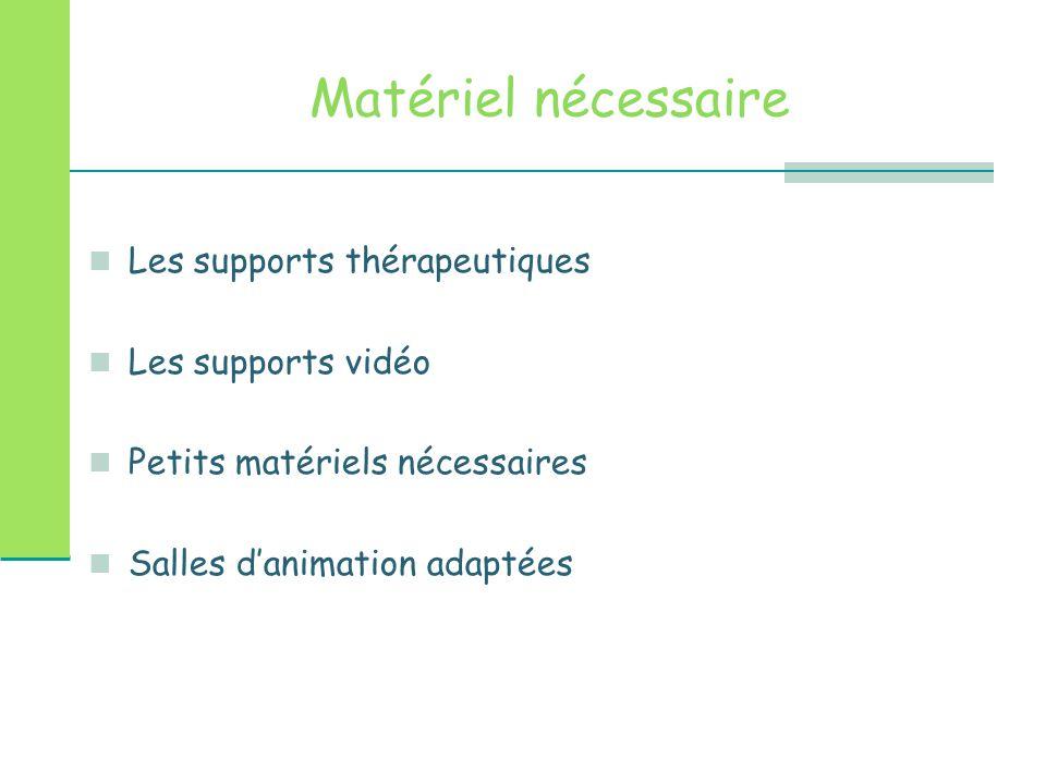 Matériel nécessaire Les supports thérapeutiques Les supports vidéo Petits matériels nécessaires Salles d'animation adaptées