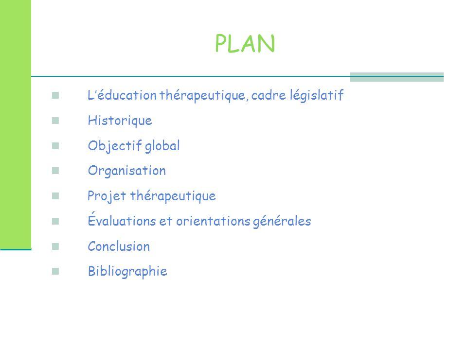 PLAN L'éducation thérapeutique, cadre législatif Cadre législatif Historique Objectif global Organisation Projet thérapeutique Évaluations et orientations générales Bibliographie Conclusion