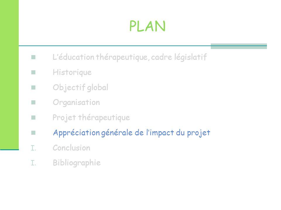 PLAN L'éducation thérapeutique, cadre législatif Historique Objectif global Organisation Projet thérapeutique Appréciation générale de l'impact du pro