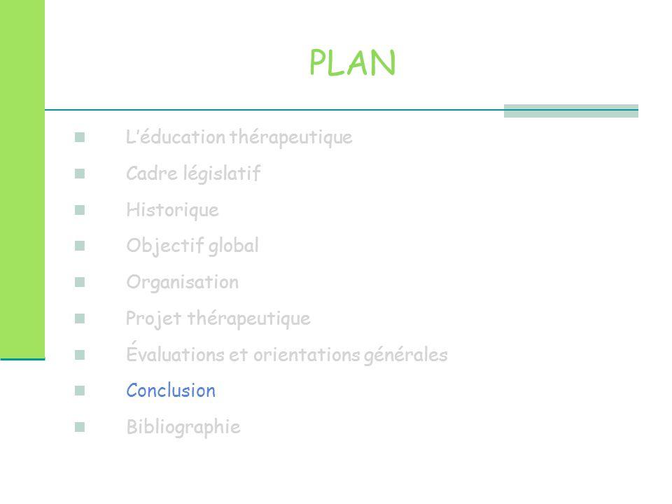 PLAN L'éducation thérapeutique Cadre législatif Historique Objectif global Organisation Projet thérapeutique Évaluations et orientations générales Con
