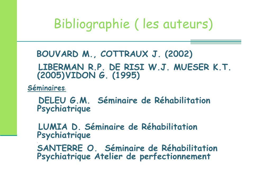 Bibliographie ( les auteurs) BOUVARD M., COTTRAUX J. (2002) LIBERMAN R.P. DE RISI W.J. MUESER K.T. (2005) VIDON G. (1995) Séminaires : DELEU G.M. Sémi