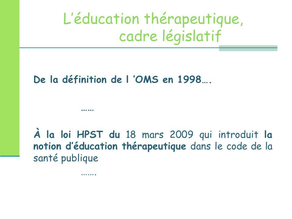 L'éducation thérapeutique, cadre législatif De la définition de l 'OMS en 1998…. …… À la loi HPST du 18 mars 2009 qui introduit la notion d'éducation